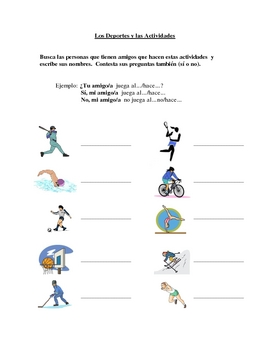 Interactive Spanish Speaking Activity with Sports and Activities