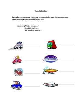 Interactive Spanish Speaking Activity with Transportation Vocabulary