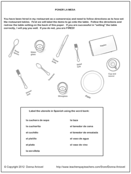 Interactive Spanish Table Setting Activity by Donna Antovel | TpT
