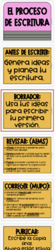 Spanish Writing Process CLIP CHART - Helps Track Writing! Two Versions!