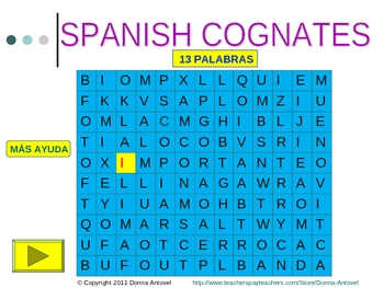 Interactive Spanish/English Cognate Wordsearch