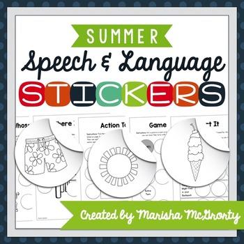 Interactive Speech & Language Stickers {Summer}