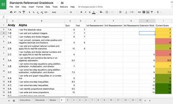 Interactive Standards Referenced Gradebook