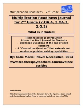 2nd Grade Multiplication Readiness Interactive Student Journal