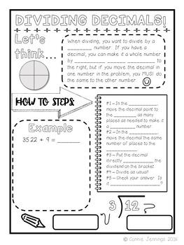 Interactive Student Notebook - Decimal Operations
