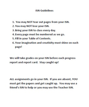 Interactive Student Notebook Guidelines