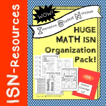 Interactive Student Notebook - Math - Organization Printables