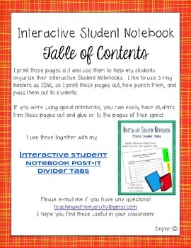 Interactive Student Notebook Table of Contents