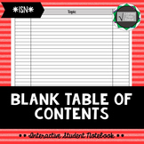 Interactive Student Notebook - Table of Contents