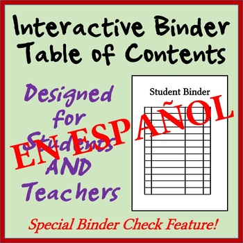 Interactive Student Notebook Table of Contents - With Check Feature! - SPANISH
