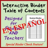 Interactive Student Notebook Table of Contents - With Chec