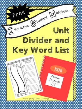 Interactive Student Notebook - Unit Divider and Key Word Organizer