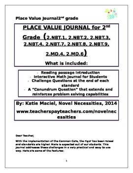 2nd Grade Place Value Interactive Student Journal