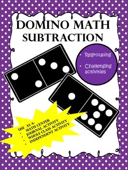 NO PREP...Subtraction Dominoes with Regrouping...Interactive Brain Teasers