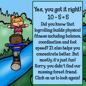 Interactive Math Game (Subtraction) for Google Slides/PDF-Outdoor Adventures