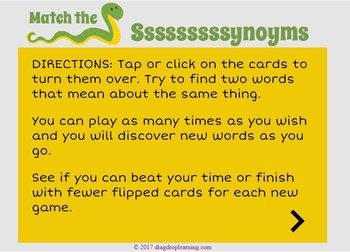 DIGITAL Synonym Game - Synonym Activity