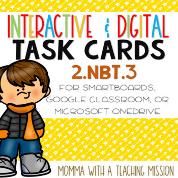 Interactive Task Cards 2.NBT.3 Word Form Google Drive Classroom