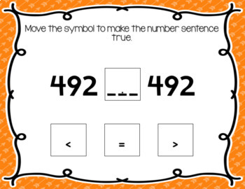 Interactive Task Cards 2.NBT.4 Comparing 3 digit numbers Google Drive Classroom