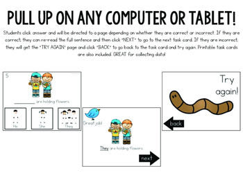 Interactive Task Cards: Spring Pronouns (NO PRINT and printable versions)