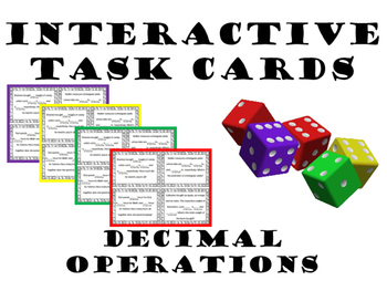 Interactive Task Cards - all Operations with Decimals