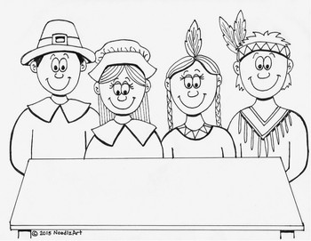 Thanksgiving Feast Interactive Coloring Page