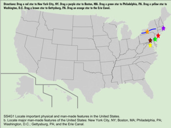 Interactive Us Physical Man Made Locations Drag Drop Map Gse - Us-map-boston-ma