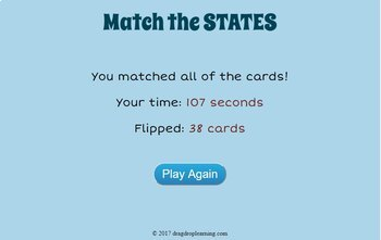 DIGITAL US Geography Game - Fifty State Matching Game