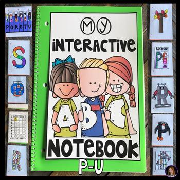 Interactive Uppercase Alphabet Notebook P-U for Kindergarten and Preschool
