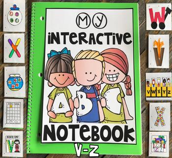 Interactive Uppercase Alphabet Notebook V-Z for Kindergarten and Preschool