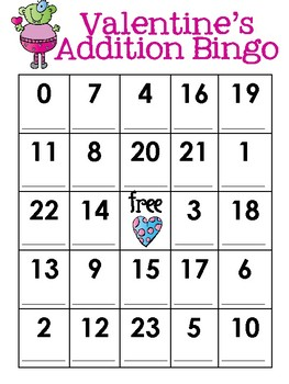 Interactive Valentine's Bingo (Addition and Subtraction)