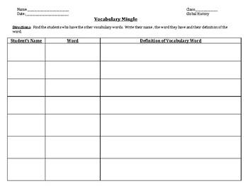 Interactive Vocabulary Activity Mingle