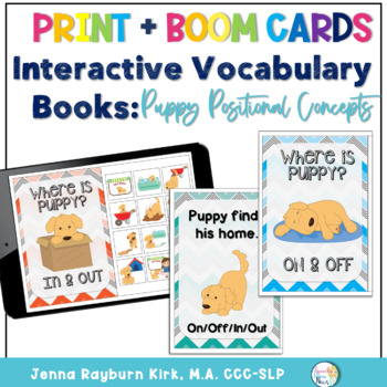 Interactive Vocabulary Books: Puppy Prepositions IN, OUT, OFF, ON