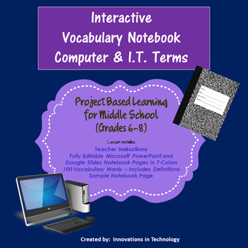Interactive Vocabulary Notebook - Computer & I.T. Words