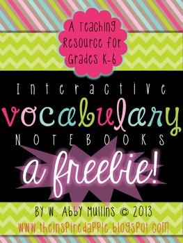 Interactive Vocabulary Notebook FREEBIE!
