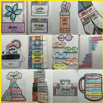 Greek and Latin Root Words, Prefixes, & Suffixes Interactive Notebook Vocabulary