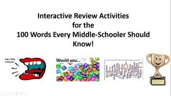 Interactive Vocabulary Review: 100 Words Every Middle Schooler Should Know!