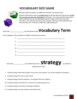 Interactive Vocabulary Strategy Game