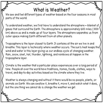 Interactive WEATHER  and SEASONS Tab Books for Science Journals