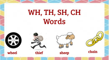 Interactive WH, TH, SH, CH Word Activities