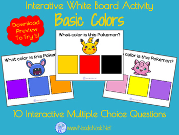 Interactive White Board Activity featuring Pokemon Go for Colors & Color Word