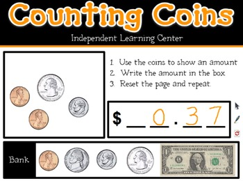 Interactive Whiteboard Counting Coins Learning Center (Promethean Flipchart)