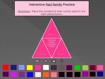 Interactive Whiteboard Fact Family triangle practice/recording sheet: +, -, x, /