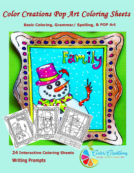 Interactive Winter Coloring Sheets + Writing prompts +Crea