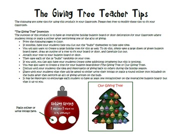 FREE! Interactive Winter Holiday Giving Tree Bulletin Board/Door Decoration