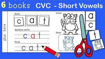Interactive Word Building Books CVC Short Vowels Whimsy Workshop Teaching