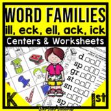 Word Families Kindergarten & 1st {ack, eck, ell,  ick, ill}