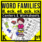 Word Families Kindergarten and 1st {ack eck ell ick ill}