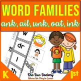 Word Families Kindergarten and 1st  {ank ail unk oat ink}