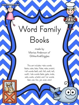 Interactive Word Family Books for -ake, -ale, -all, and -ar