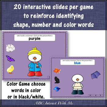 Interactive Word Games ~ Numbers, Colors, 2D Shapes {Dress the Snowman} Bundle